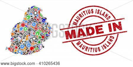 Production Mosaic Mauritius Island Map And Made In Scratched Rubber Stamp. Mauritius Island Map Comp