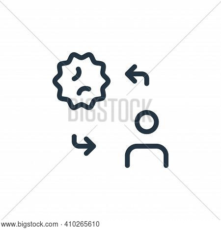 transmission icon isolated on white background from coronavirus collection. transmission icon thin l