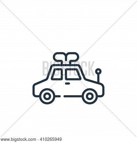 toy car icon isolated on white background from children toys collection. toy car icon thin line outl