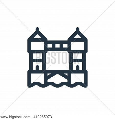 Tower bridge icon isolated on white background from england collection. Tower bridge icon thin line