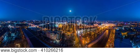 Wide Winter Aerial Panorama Of Embankment Of Lopan River With View To Holy Dormition Cathedral - Usp