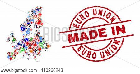 Development Mosaic Euro Union Map And Made In Scratched Watermark. Euro Union Map Mosaic Composed Wi