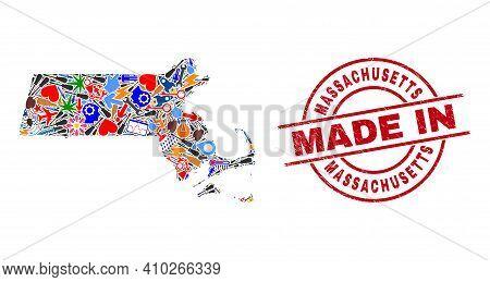 Service Massachusetts State Map Mosaic And Made In Textured Watermark. Massachusetts State Map Mosai