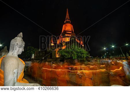 Ayutthaya, Thailand - May 18, 2019: Wat Yai Chaimongkon, The Ancient Buddhist Temple,  The Famous To