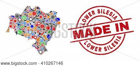 Service Lower Silesia Province Map Mosaic And Made In Distress Rubber Stamp. Lower Silesia Province
