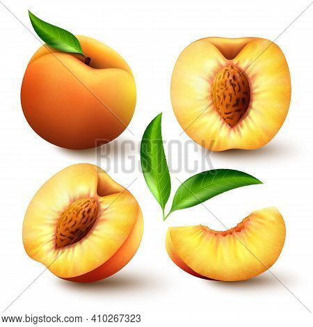 Set Of Realistic Ripe Peaches With Green Leaves, Whole, Half And Slices. Juicy Sweet Fruits Realisti