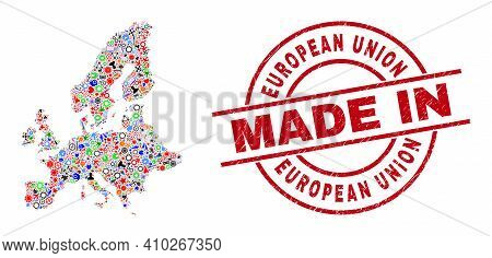 Technical European Union Map Mosaic And Made In Scratched Rubber Stamp. European Union Map Collage D