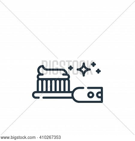 teeth brush icon isolated on white background from hygiene routine collection. teeth brush icon thin