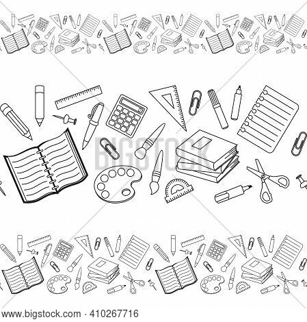 Black And White School Supplies And Office Stationary On A White Background. Vector Seamless Border,