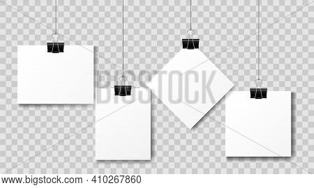 Set Of Multicolored Binder Clips On A Piece Of Paper On A Transparent Background. Clerical Clothespi