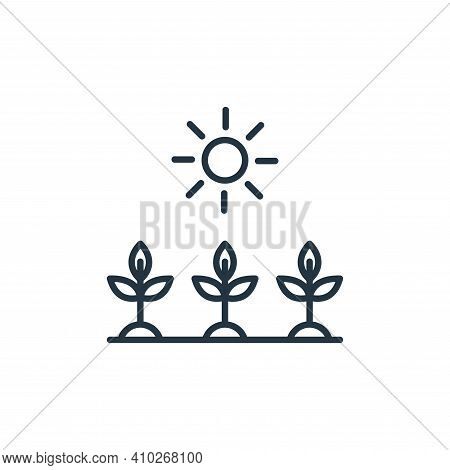 sunlight icon isolated on white background from smart farm collection. sunlight icon thin line outli