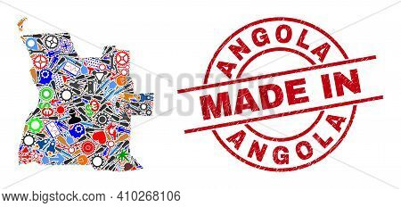 Science Angola Map Mosaic And Made In Grunge Stamp Seal. Angola Map Abstraction Formed With Wrenches