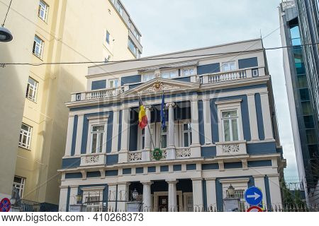 Beyoglu, Istanbul, Turkey - 02.17.2021: Building Of Belgium Embassy And Consulate In Turkey With Bel
