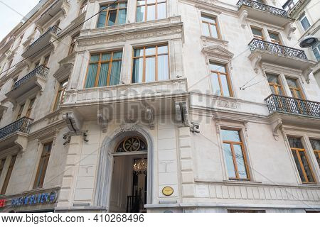 Beyoglu, Istanbul, Turkey - 02.17.2021: Entrance Of Historical Akka Lush Hotel With Four Stars Near