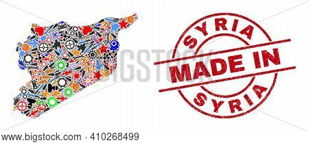 Education Mosaic Syria Map And Made In Distress Rubber Stamp. Syria Map Composition Composed With Wr