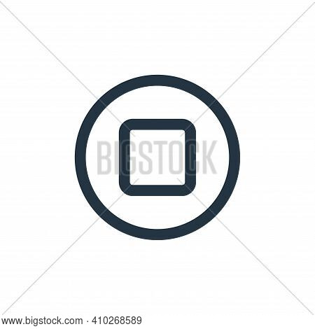 stop icon isolated on white background from multimedia collection. stop icon thin line outline linea