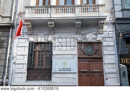 Beyoglu, Istanbul, Turkey - 02.17.2021: Ministry Of Youth And Sports Historical Building Of Turkey O