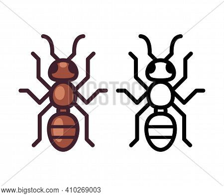 Vector Ant Icon Or Logo. Cartoon Color And Black And White Symbol. Simple Flat Design Illustration.