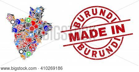 Component Burundi Map Mosaic And Made In Scratched Rubber Stamp. Burundi Map Collage Created From Sp