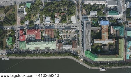 Area With Parked Cars And Old Houses. Stock Footage. Top View Of Parked Cars In Old Part Of City On