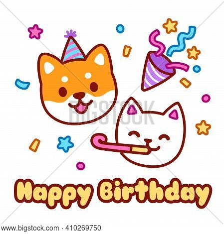Cute Cartoon Cat And Dog Character Celebrating On Birthday Party. Happy Birthday Greeting Card Desig