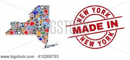 Production Mosaic New York State Map And Made In Distress Rubber Stamp. New York State Map Abstracti