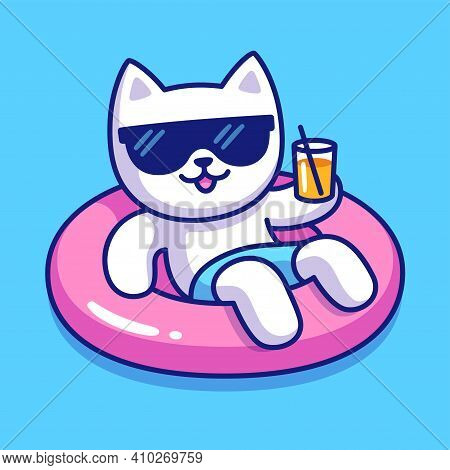 Funny Cartoon Cat In Sunglasses On Pool Float Holding Drink Glass. Cute Cat Character On Summer Pool