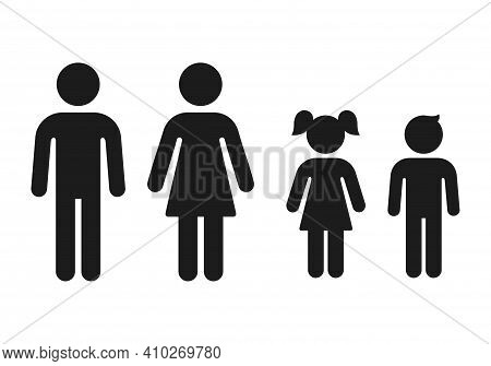 Man And Woman, Girl And Boy Gender Icons. Simple Figure Family, Male And Female Adults And Children.