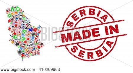 Service Mosaic Serbia Map And Made In Grunge Watermark. Serbia Map Mosaic Formed With Spanners, Gear