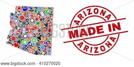 Component Mosaic Arizona State Map And Made In Scratched Stamp. Arizona State Map Composition Create
