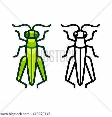 Vector Grasshopper Icon Or Logo. Color And Black And White Symbol. Simple Flat Design Illustration.