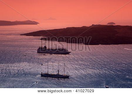 Sailing After Sunset. Fira, Santorini.