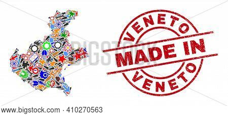 Industrial Veneto Region Map Mosaic And Made In Scratched Rubber Stamp. Veneto Region Map Compositio