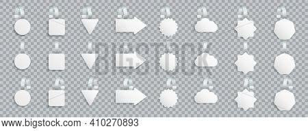 Set Of White Blank Advertising Wobblers Isolated On Transparent Background. Different Shape Wobbler