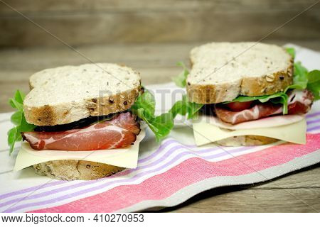 Homemade Sandwich, Sandwich With Smoked Prosciutto And Cheese