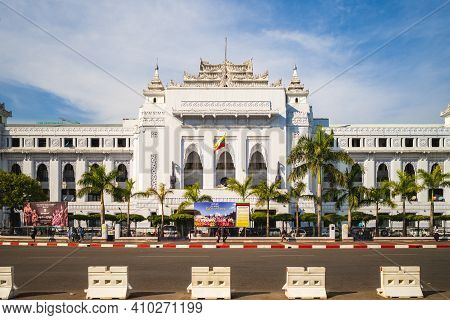 February 8, 2016: Yangon City Hall In Yangon, Myanmar Burma. The Building Is A Fine Example Of Syncr