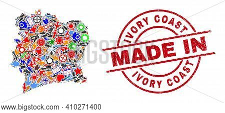 Production Ivory Coast Map Mosaic And Made In Distress Stamp Seal. Ivory Coast Map Composition Compo