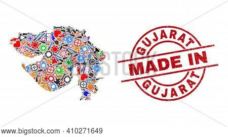 Science Mosaic Gujarat State Map And Made In Distress Rubber Stamp. Gujarat State Map Abstraction Fo