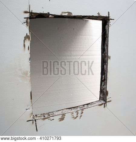 Sawed In A Bank Safe. The Sentry Safe Cut Hole. The Steel Walls Of The Safe Filled With Concrete Cou