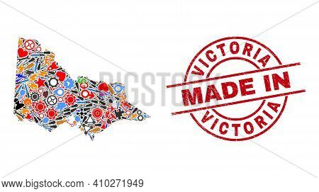 Service Mosaic Australian Victoria Map And Made In Distress Rubber Stamp. Australian Victoria Map Co