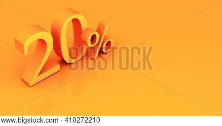 Special Offer 20% Discount Tag, Sale Up To 20 Percent Off, Yellow Twenty Percent On A Colored Backgr