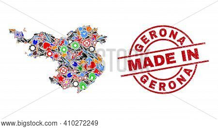 Production Gerona Province Map Mosaic And Made In Textured Rubber Stamp. Gerona Province Map Abstrac