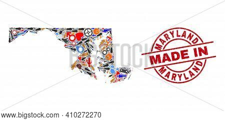 Production Mosaic Maryland State Map And Made In Scratched Stamp Seal. Maryland State Map Compositio