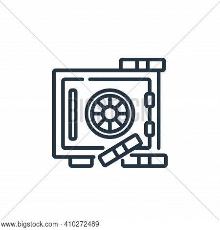 safe box icon isolated on white background from banking and money collection. safe box icon thin lin