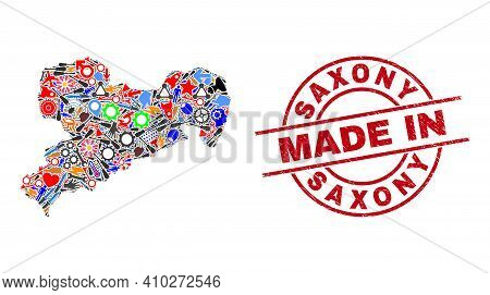 Production Mosaic Saxony Land Map And Made In Scratched Rubber Stamp. Saxony Land Map Composition Cr