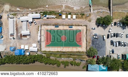 Aerial Top View Of Soccer Football Or Basketball Courts In The Island At Phangnga Thailand.
