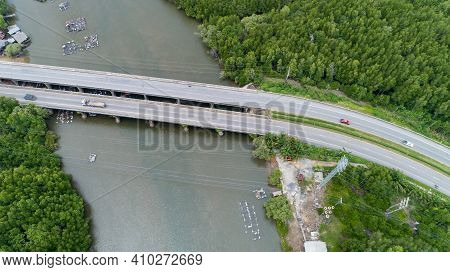 Aerial Top View Drone Shot Of Bridge With Cars On Bridge Highway Road Image Transportation Backgroun