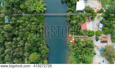 Aerial View Top Down Of Suspension Bridge Across The Canal In Khao Sok National Park Suratthani Thai