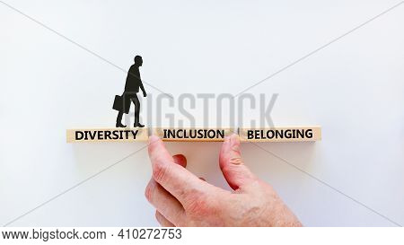 Diversity, Inclusion, Belonging Symbol. Wooden Blocks Words 'diversity, Inclusion, Belonging' On Whi