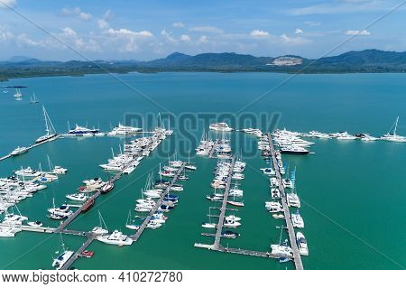 Aerial View Top Down Drone Shot Of Yacht And Sailboat Parking In Marina Transportation And Travel Ba
